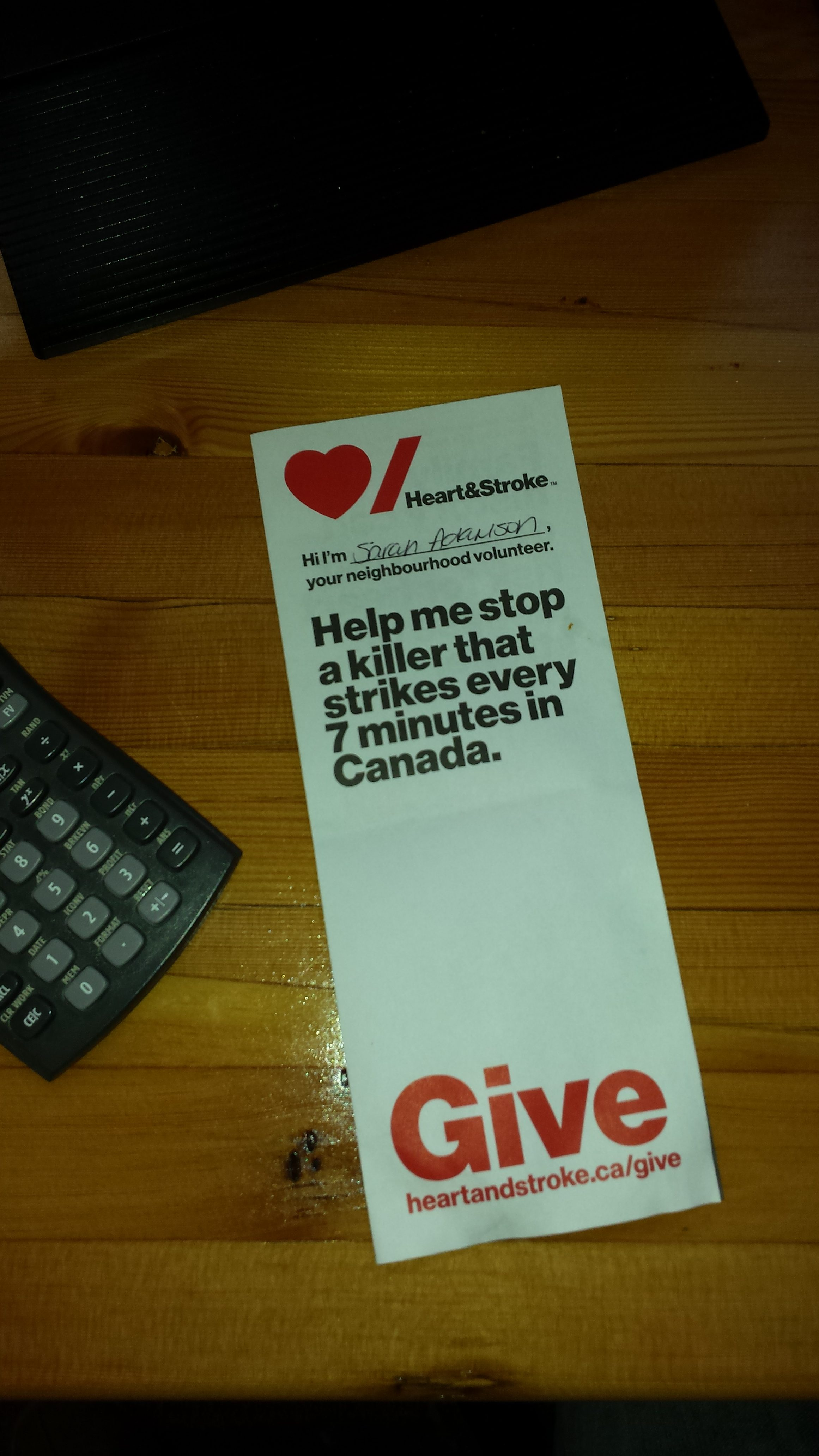 giving back to the heart and stroke foundation at personal